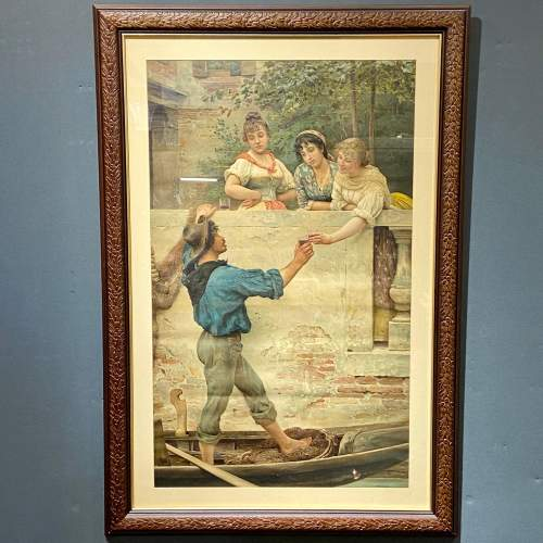 Victorian Eugene De Blaas Print of Rival Bells image-1