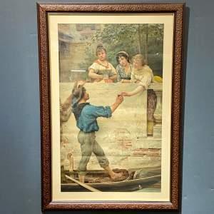 Victorian Eugene De Blaas Print of Rival Bells