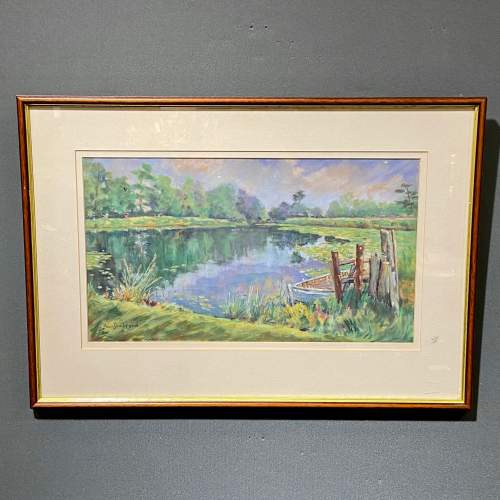 Framed Pastel Drawing Still Waters image-1