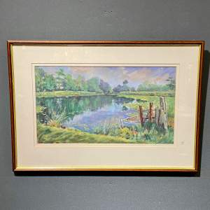 Framed Pastel Drawing Still Waters