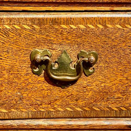 Antique Inlaid Oak Chest of Drawers image-5