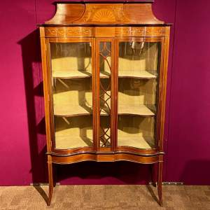 Edwardian Inlaid Walnut Display Cabinet
