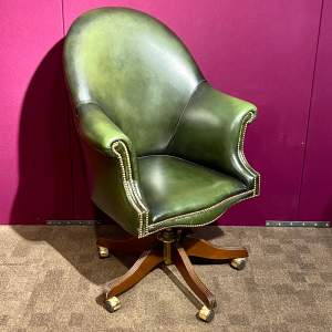 Large Green Leather Swivel Chair