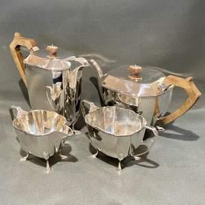 Art Deco Four Piece Silver Tea Service