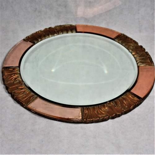 Atsonea Art Deco Peach Glass Wall Mirror image-1