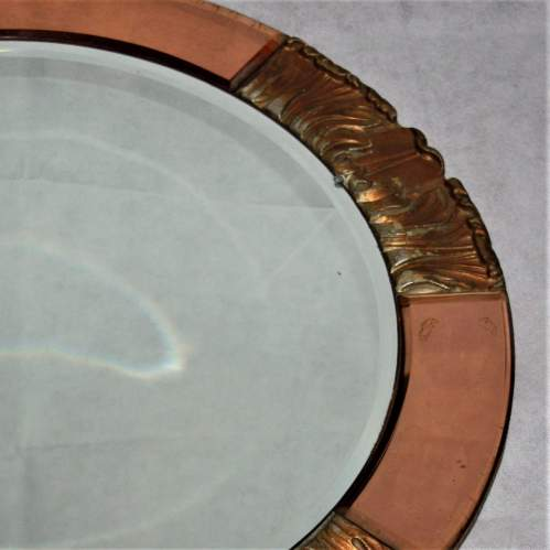 Atsonea Art Deco Peach Glass Wall Mirror image-3