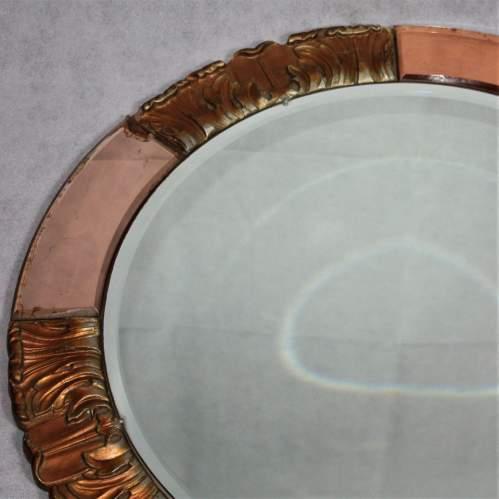 Atsonea Art Deco Peach Glass Wall Mirror image-4