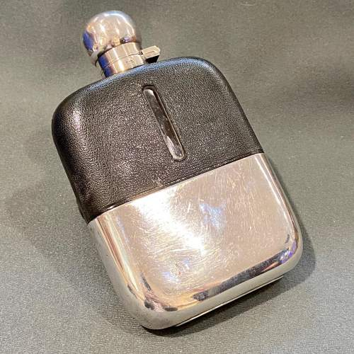 James Dixon Silver Plated Glass Hip Flask image-1