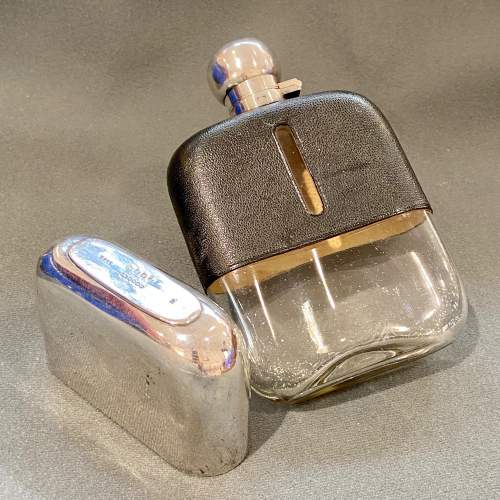 James Dixon Silver Plated Glass Hip Flask image-2