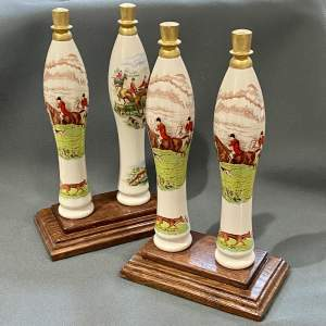 Set of Four Wade Ceramic Hunting Scene Beer Pump Taps