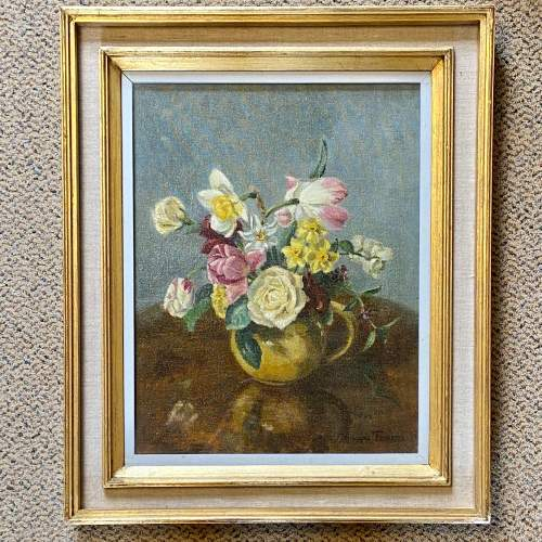 Still Life of Flowers Oil on Canvas Painting image-1