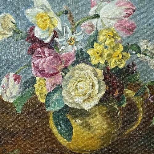 Still Life of Flowers Oil on Canvas Painting image-2