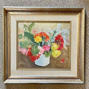 Avraham Azmon Still Life of Flowers Oil on Board
