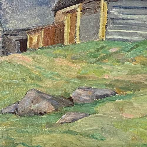 Barn at Lost River Quebec Oil on Board Painting image-3