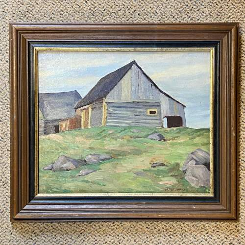 Barn at Lost River Quebec Oil on Board Painting image-1