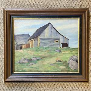 Barn at Lost River Quebec Oil on Board Painting
