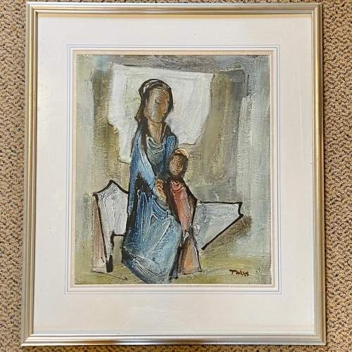 Tadeusz Was Seated Mother and Child Oil on Paper Painting image-1