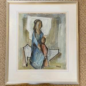 Tadeusz Was Seated Mother and Child Oil on Paper Painting