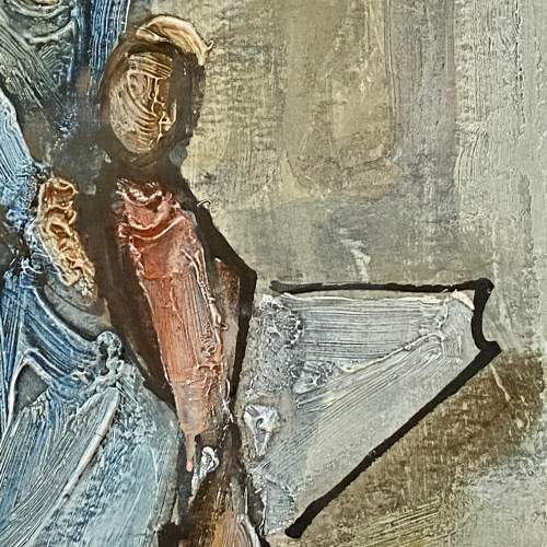 Tadeusz Was Seated Mother and Child Oil on Paper Painting image-3