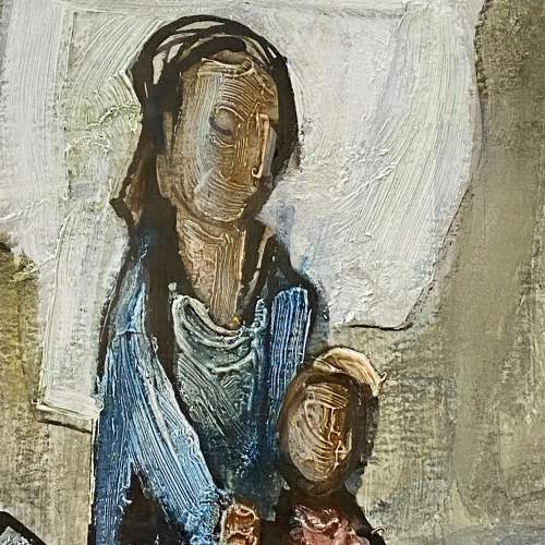 Tadeusz Was Seated Mother and Child Oil on Paper Painting image-2