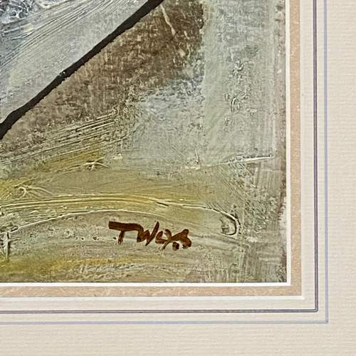Tadeusz Was Seated Mother and Child Oil on Paper Painting image-4