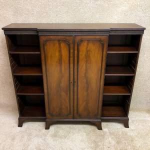 Edwardian Mahogany Breakfront Bookcase