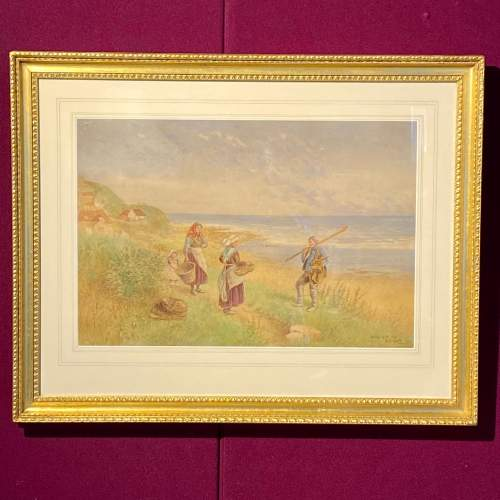 19th Century Watercolour Painting of Cottage Scene image-1