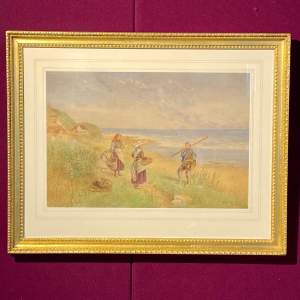 19th Century Watercolour Painting of Cottage Scene