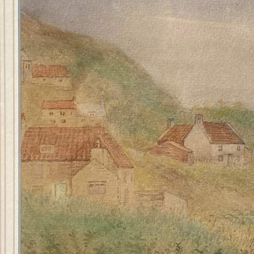 19th Century Watercolour Painting of Cottage Scene image-3