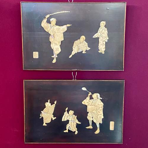 A Pair of Meiji Period Shibayama Panels image-1