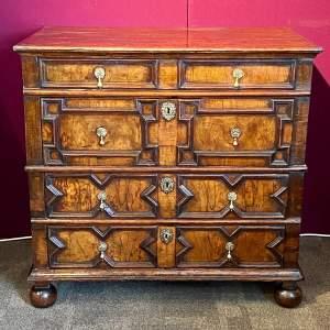 Rare Charles II Oak and Walnut Geometric Chest of Drawers