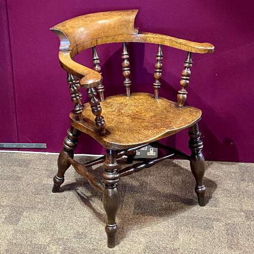 19th Century Ash and Elm Smokers Bow Chair image-1