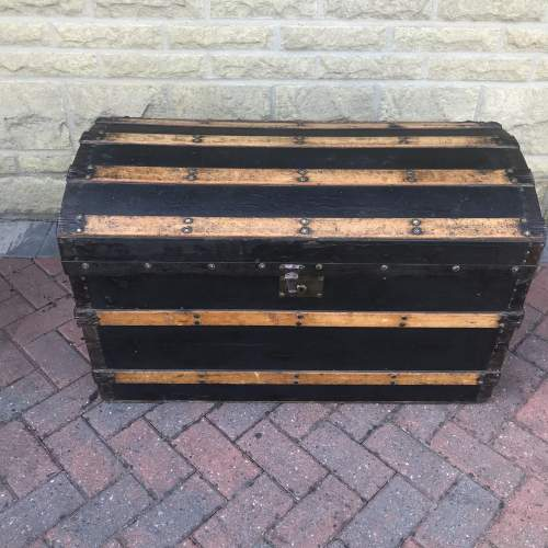 Domed Metal Banded and Black Leather  Chest image-1