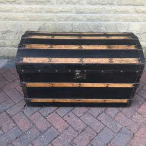 Domed Metal Banded and Black Leather  Chest