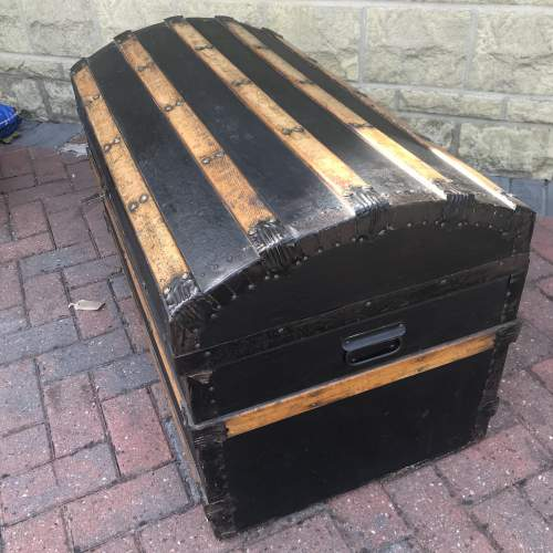 Domed Metal Banded and Black Leather  Chest image-5