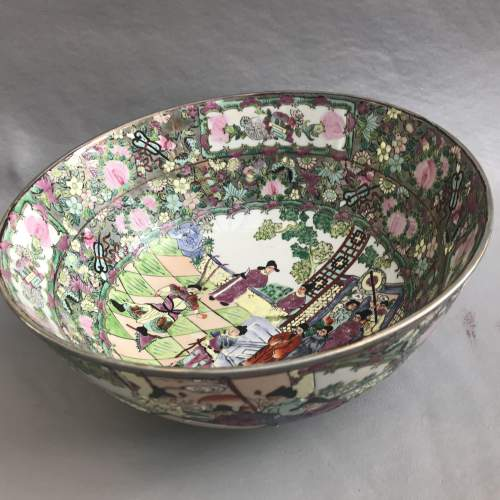 Large 20th Century Chinese Famille Rose Bowl image-1