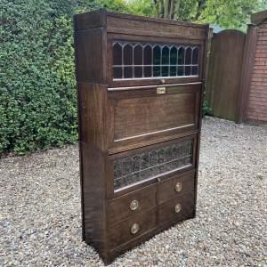 Good Quality Sectional Stacking Oak Bureau Bookcase