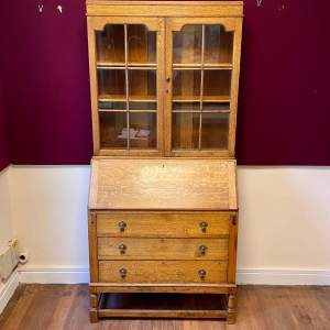 1920s Oak Secretaire Bookcase