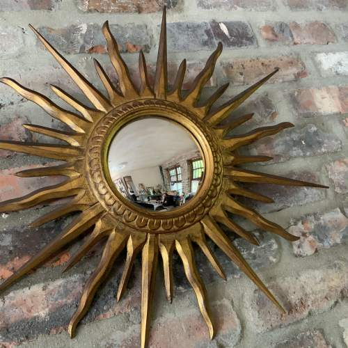 Superb Belgian French Wooden Sunburst Mirror with Convex Glass image-1