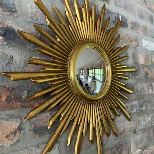 Superb Large French Belgian Sunburst Mirror With Convex Glass image-1