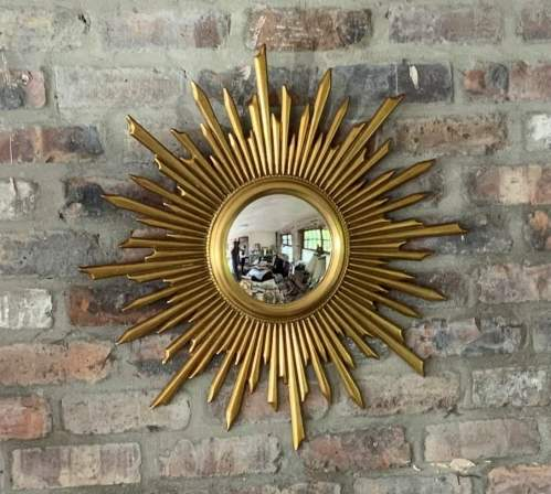 Superb Large French Belgian Sunburst Mirror With Convex Glass image-4