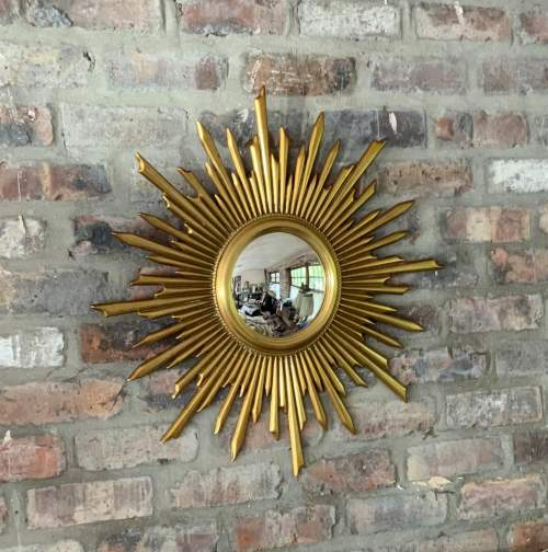 Superb Large French Belgian Sunburst Mirror With Convex Glass image-5