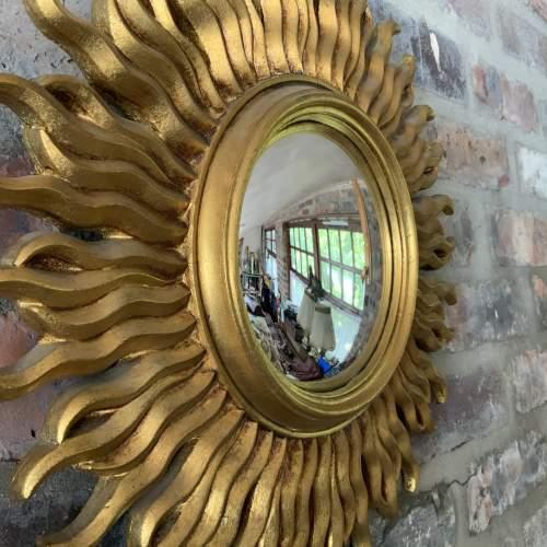 Stunning French Belgian Sunburst Mirror with Convex Glass image-1