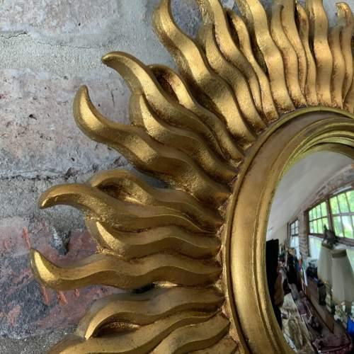 Stunning French Belgian Sunburst Mirror with Convex Glass image-2