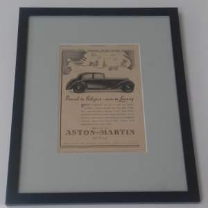 Framed Original 1937 Autocar Advert For Aston Martin