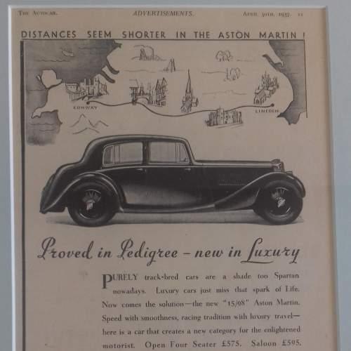 Framed Original 1937 Autocar Advert For Aston Martin image-2
