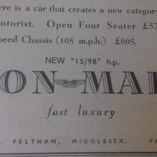 Framed Original 1937 Autocar Advert For Aston Martin image-3
