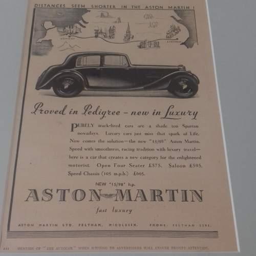 Framed Original 1937 Autocar Advert For Aston Martin image-6