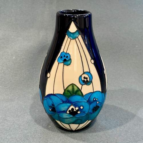 Moorcroft Rennie Rose Blue Vase image-1