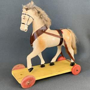1930s Hand Carved Wooden Horse on Wheels